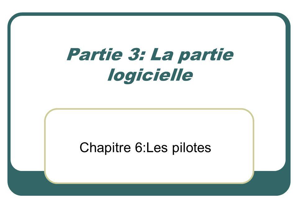 Partie 3: La partie logicielle Chapitre 6:Les pilotes