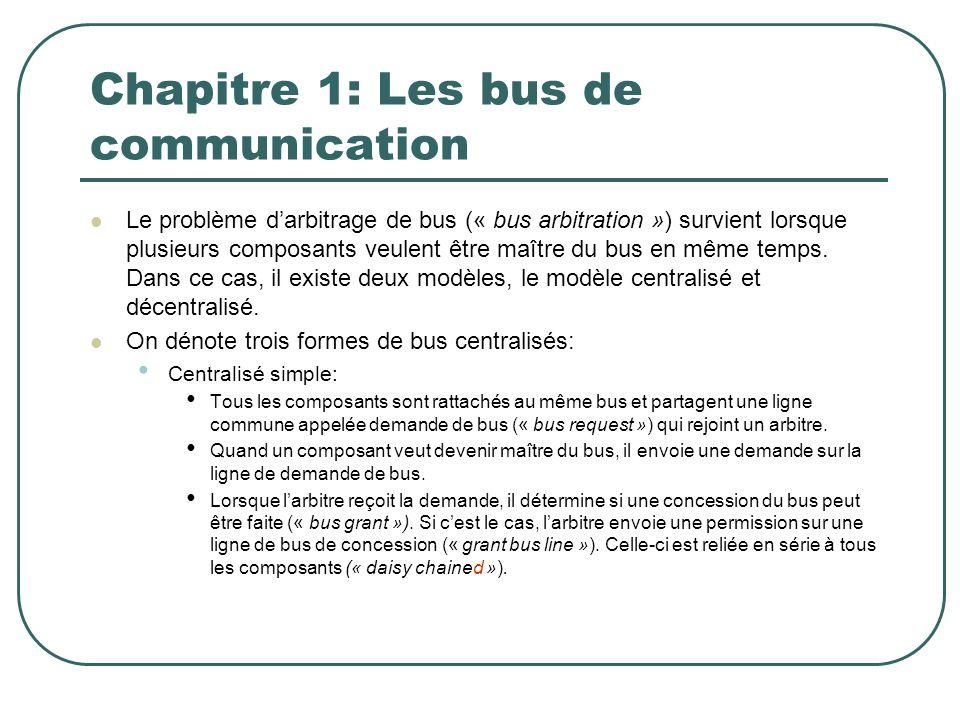 Chapitre 1: Les bus de communication Le problème darbitrage de bus (« bus arbitration ») survient lorsque plusieurs composants veulent être maître du