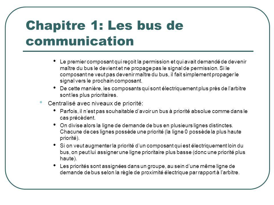 Chapitre 1: Les bus de communication Le premier composant qui reçoit la permission et qui avait demandé de devenir maître du bus le devient et ne prop