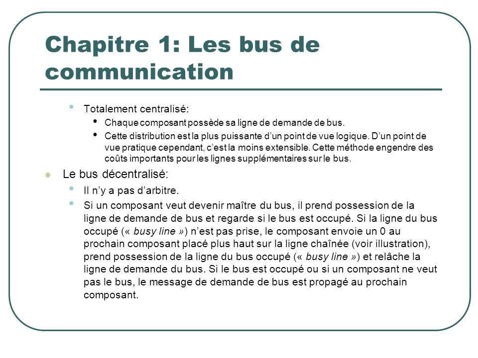 Chapitre 1: Les bus de communication Totalement centralisé: Chaque composant possède sa ligne de demande de bus. Cette distribution est la plus puissa
