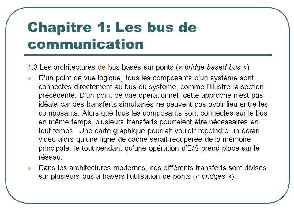 Chapitre 1: Les bus de communication 1.3 Les architectures de bus basés sur ponts (« bridge based bus ») Dun point de vue logique, tous les composants