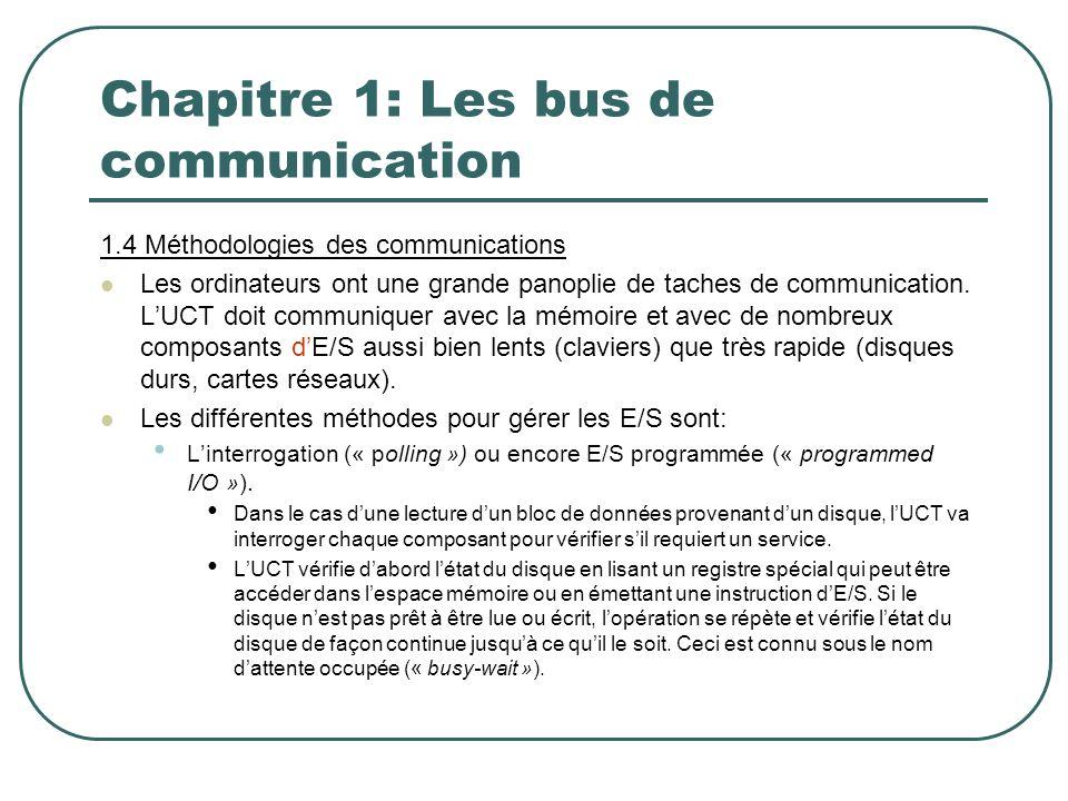 Chapitre 1: Les bus de communication 1.4 Méthodologies des communications Les ordinateurs ont une grande panoplie de taches de communication. LUCT doi