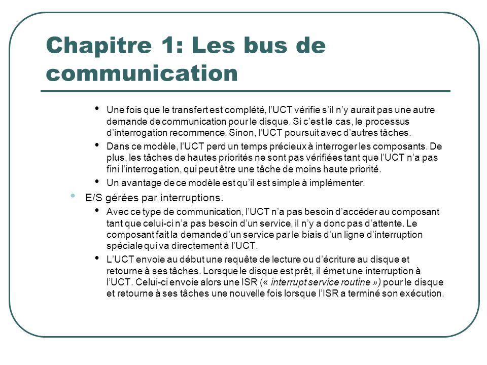 Chapitre 1: Les bus de communication Une fois que le transfert est complété, lUCT vérifie sil ny aurait pas une autre demande de communication pour le
