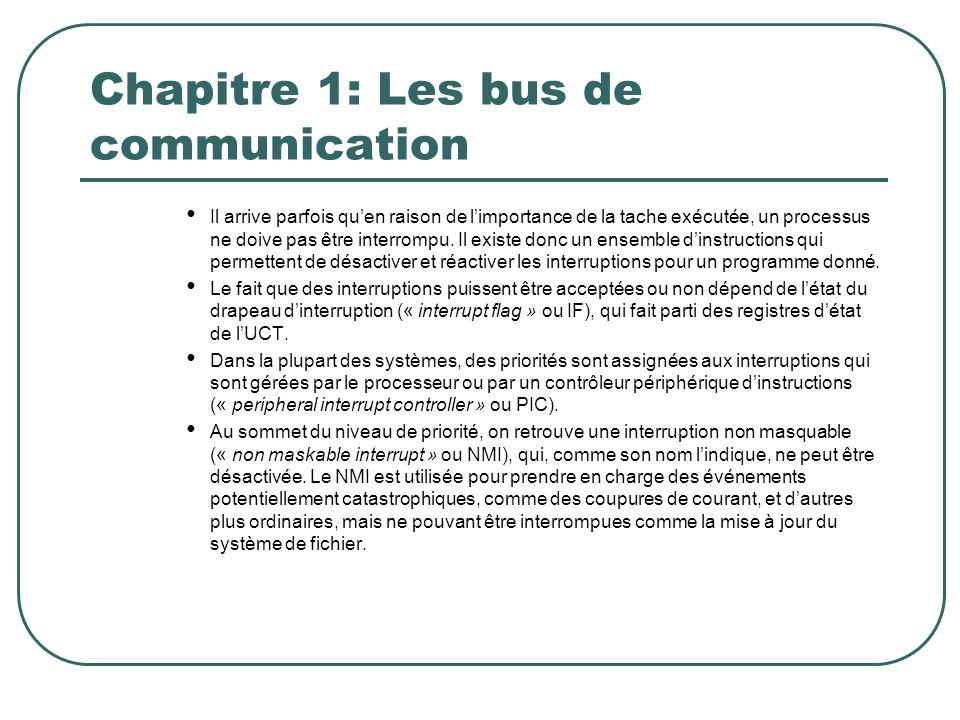 Chapitre 1: Les bus de communication Il arrive parfois quen raison de limportance de la tache exécutée, un processus ne doive pas être interrompu. Il