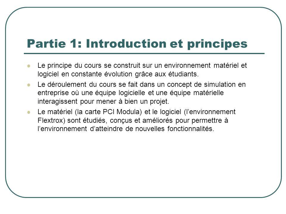 Le principe du cours se construit sur un environnement matériel et logiciel en constante évolution grâce aux étudiants. Le déroulement du cours se fai