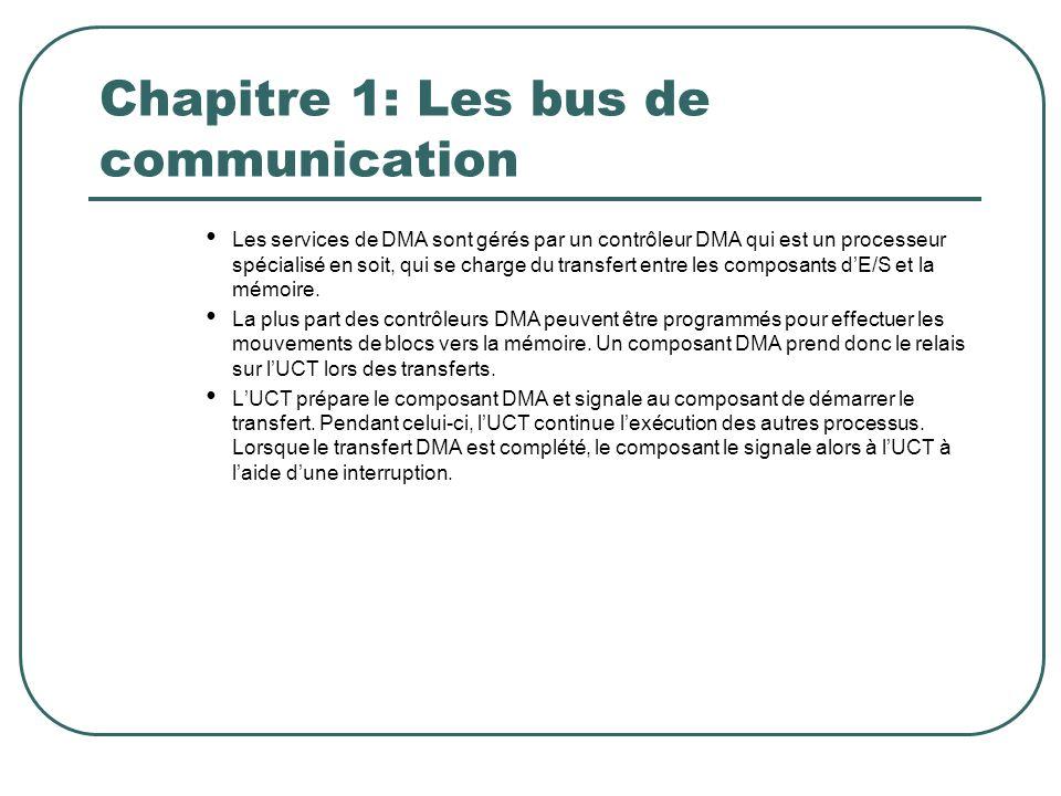 Chapitre 1: Les bus de communication Les services de DMA sont gérés par un contrôleur DMA qui est un processeur spécialisé en soit, qui se charge du t