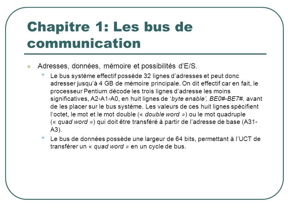 Chapitre 1: Les bus de communication Adresses, données, mémoire et possibilités dE/S. Le bus système effectif possède 32 lignes dadresses et peut donc
