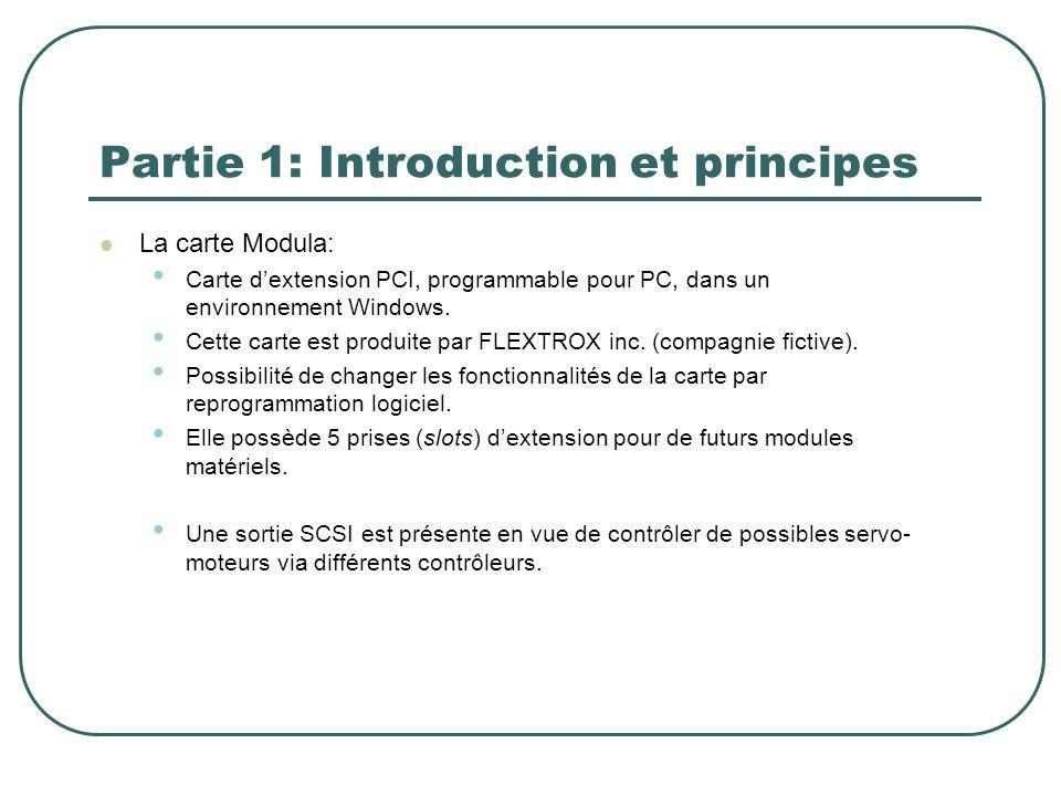 Partie 1: Introduction et principes La carte Modula: Carte dextension PCI, programmable pour PC, dans un environnement Windows. Cette carte est produi