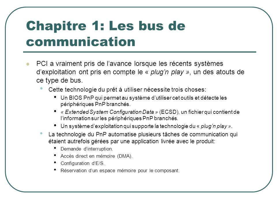 Chapitre 1: Les bus de communication PCI a vraiment pris de lavance lorsque les récents systèmes dexploitation ont pris en compte le « plugn play », u