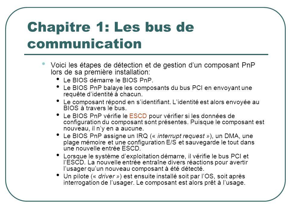 Chapitre 1: Les bus de communication Voici les étapes de détection et de gestion dun composant PnP lors de sa première installation: Le BIOS démarre l