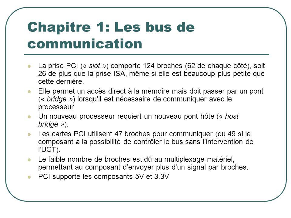 Chapitre 1: Les bus de communication La prise PCI (« slot ») comporte 124 broches (62 de chaque côté), soit 26 de plus que la prise ISA, même si elle