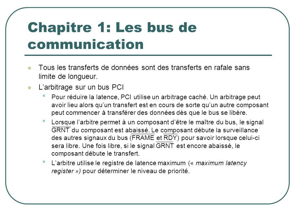 Chapitre 1: Les bus de communication Tous les transferts de données sont des transferts en rafale sans limite de longueur. Larbitrage sur un bus PCI P