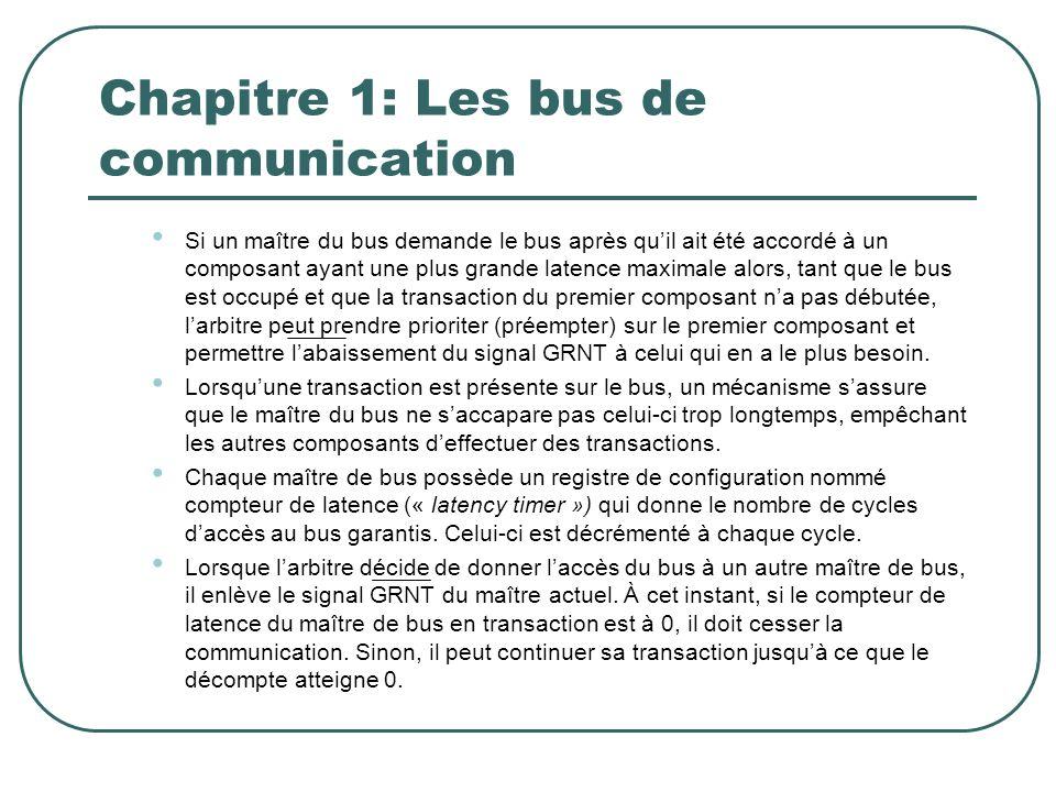 Chapitre 1: Les bus de communication Si un maître du bus demande le bus après quil ait été accordé à un composant ayant une plus grande latence maxima