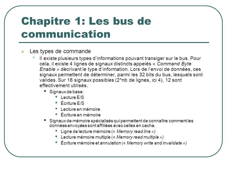 Chapitre 1: Les bus de communication Les types de commande Il existe plusieurs types dinformations pouvant transiger sur le bus. Pour cela, il existe