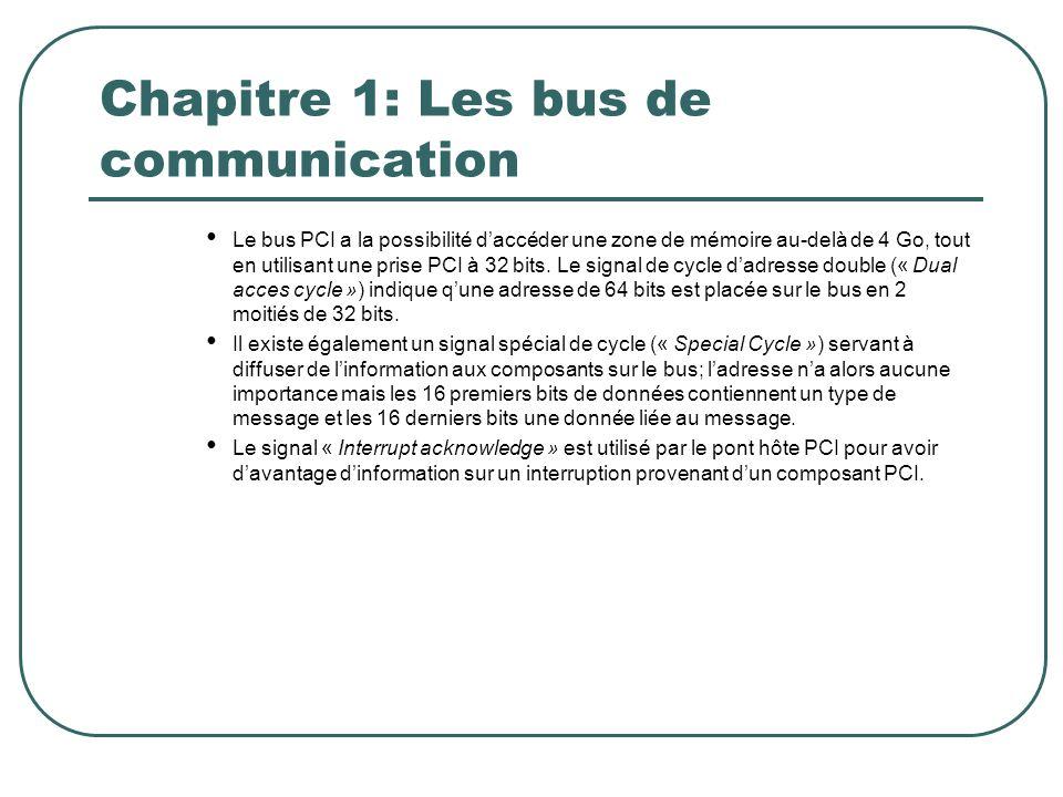 Chapitre 1: Les bus de communication Le bus PCI a la possibilité daccéder une zone de mémoire au-delà de 4 Go, tout en utilisant une prise PCI à 32 bi