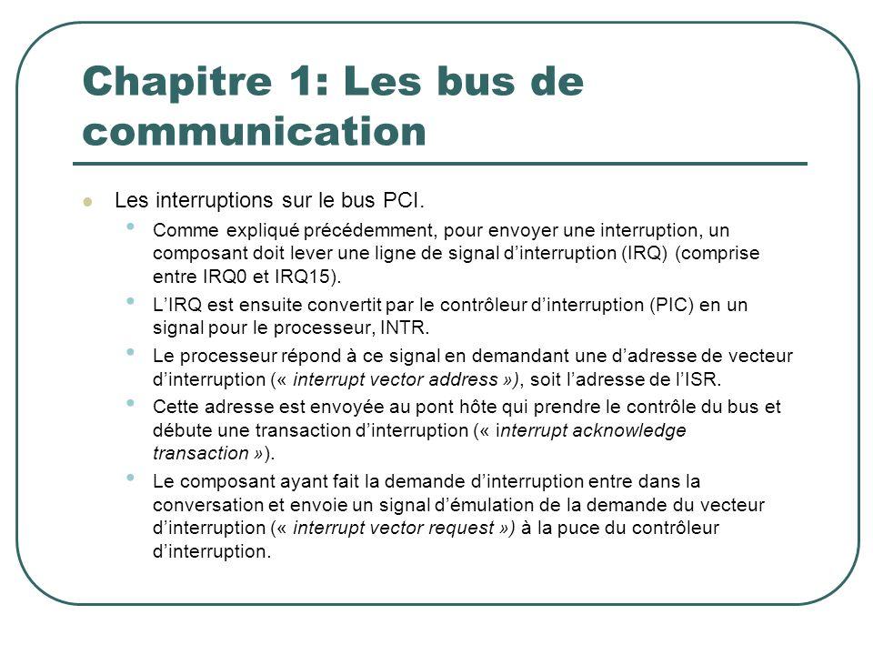 Chapitre 1: Les bus de communication Les interruptions sur le bus PCI. Comme expliqué précédemment, pour envoyer une interruption, un composant doit l