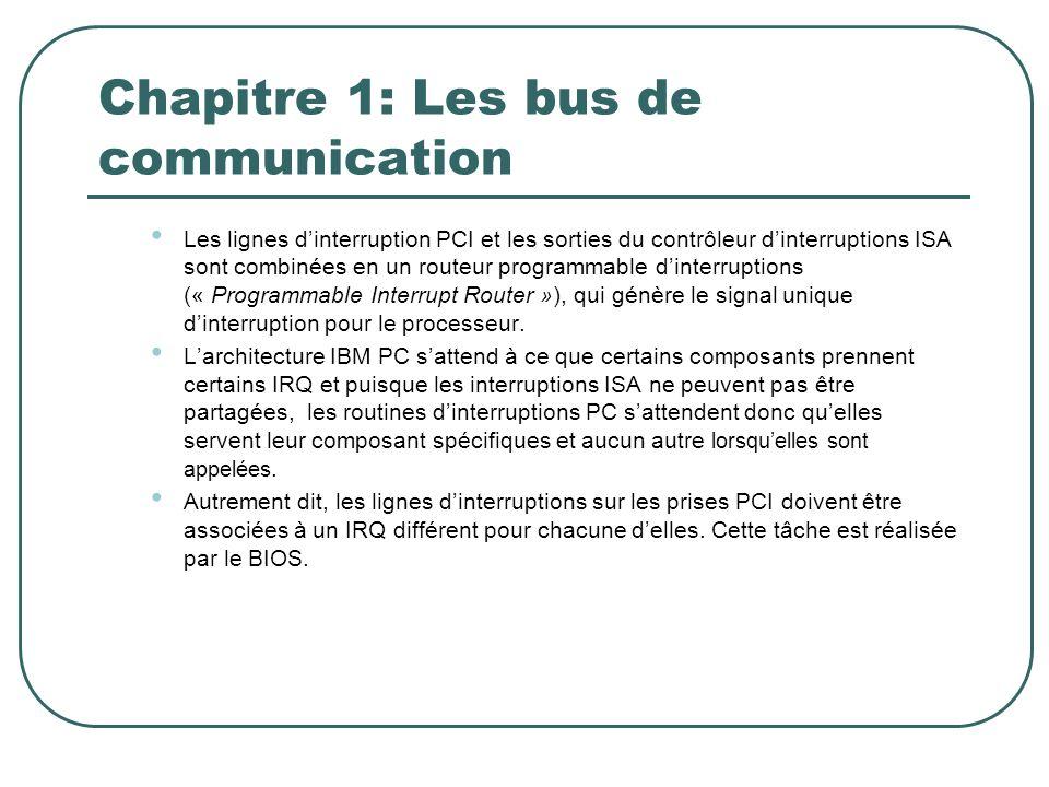 Chapitre 1: Les bus de communication Les lignes dinterruption PCI et les sorties du contrôleur dinterruptions ISA sont combinées en un routeur program
