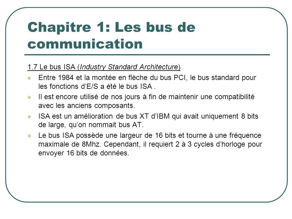 Chapitre 1: Les bus de communication 1.7 Le bus ISA (Industry Standard Architecture) Entre 1984 et la montée en flèche du bus PCI, le bus standard pou