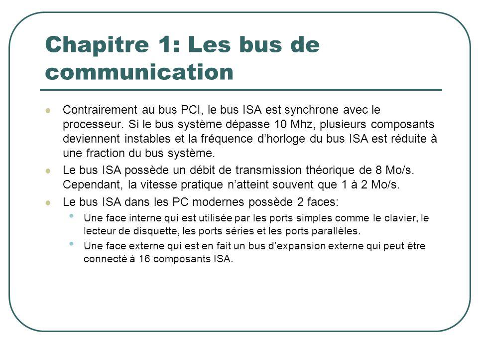 Chapitre 1: Les bus de communication Contrairement au bus PCI, le bus ISA est synchrone avec le processeur. Si le bus système dépasse 10 Mhz, plusieur