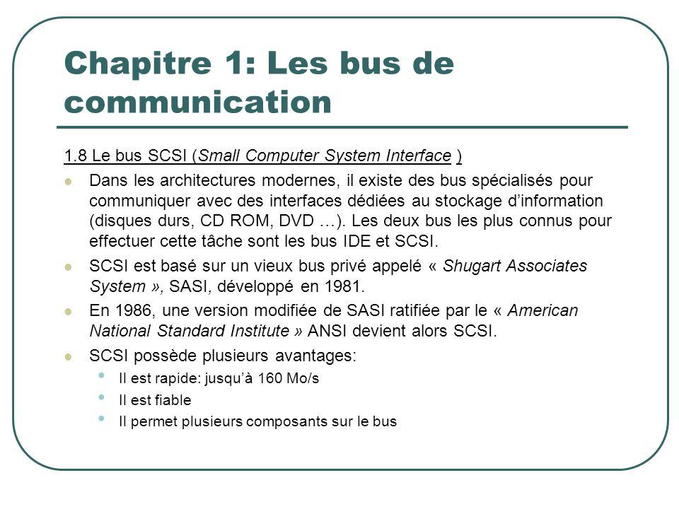 Chapitre 1: Les bus de communication 1.8 Le bus SCSI (Small Computer System Interface ) Dans les architectures modernes, il existe des bus spécialisés