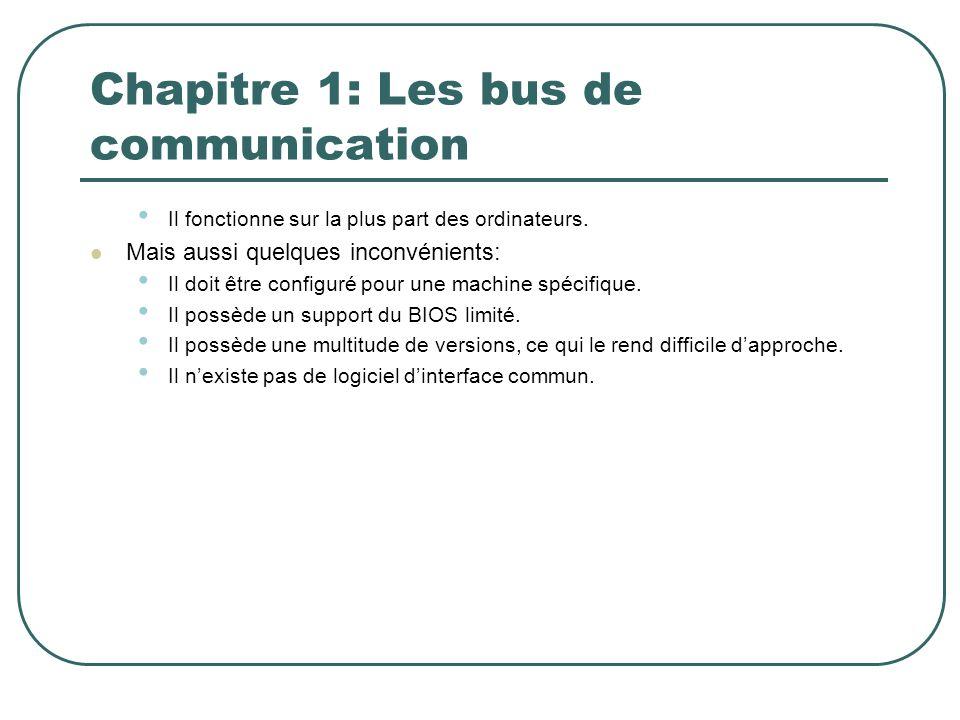 Chapitre 1: Les bus de communication Il fonctionne sur la plus part des ordinateurs. Mais aussi quelques inconvénients: Il doit être configuré pour un
