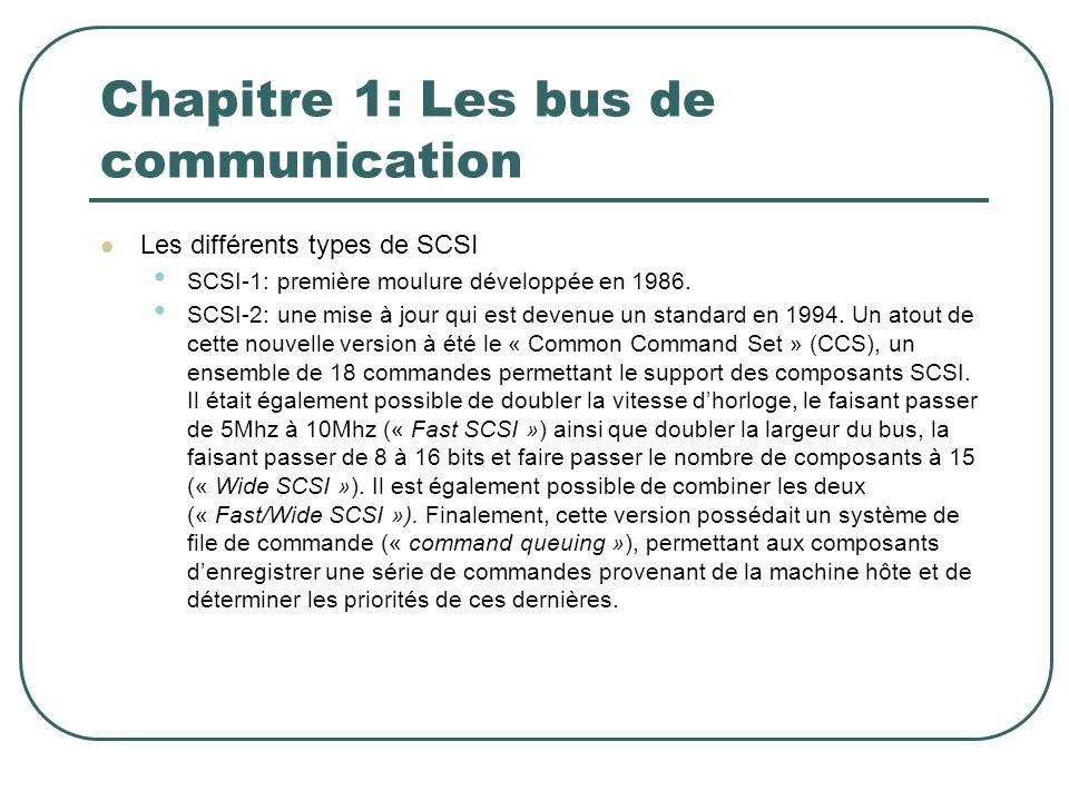 Chapitre 1: Les bus de communication Les différents types de SCSI SCSI-1: première moulure développée en 1986. SCSI-2: une mise à jour qui est devenue