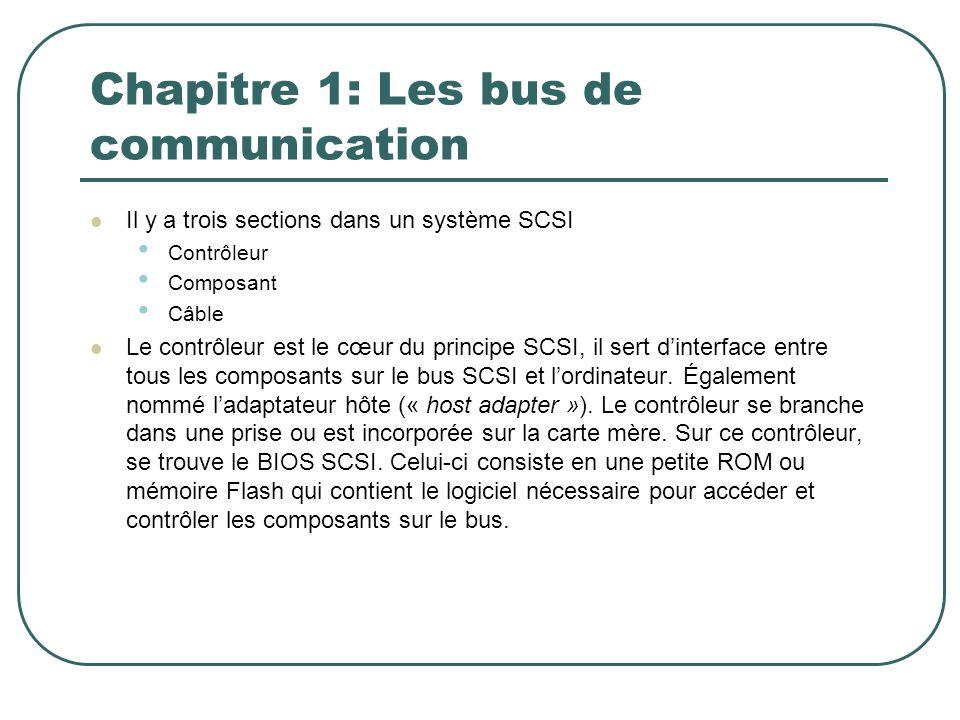 Chapitre 1: Les bus de communication Il y a trois sections dans un système SCSI Contrôleur Composant Câble Le contrôleur est le cœur du principe SCSI,