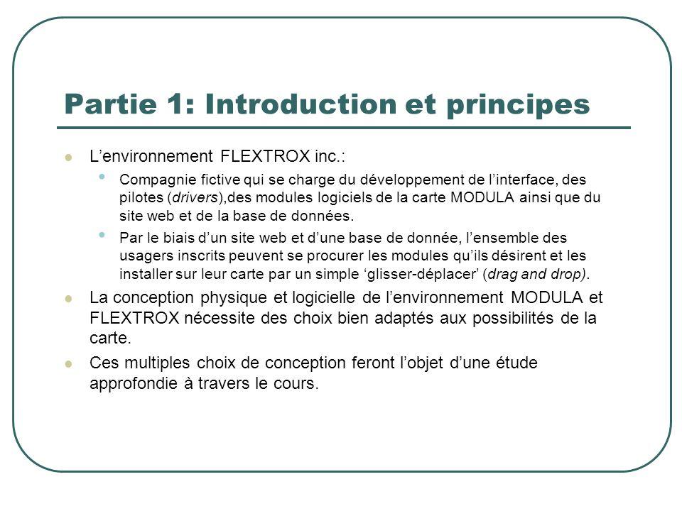 Partie 1: Introduction et principes A travers le cours, il sera donc question de passer à travers les différents composants matériels et logiciels envisageables pour le design de la carte Modula et de lenvironnement FLEXTROX et tenter de justifier par lexemple, les raisons de leur choix.
