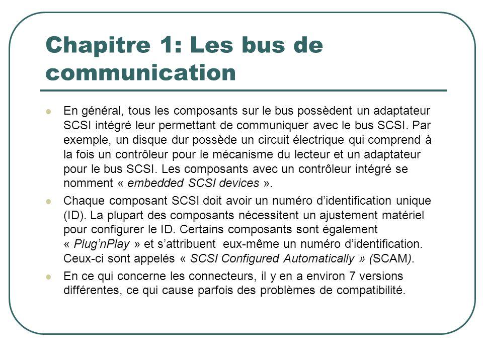 Chapitre 1: Les bus de communication En général, tous les composants sur le bus possèdent un adaptateur SCSI intégré leur permettant de communiquer av