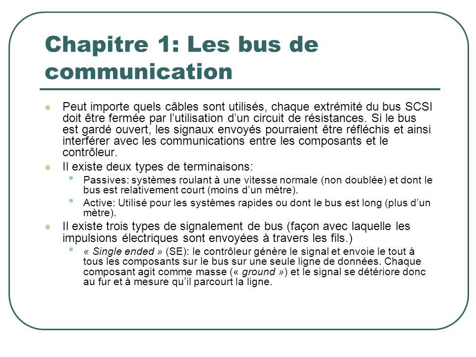 Chapitre 1: Les bus de communication Peut importe quels câbles sont utilisés, chaque extrémité du bus SCSI doit être fermée par lutilisation dun circu