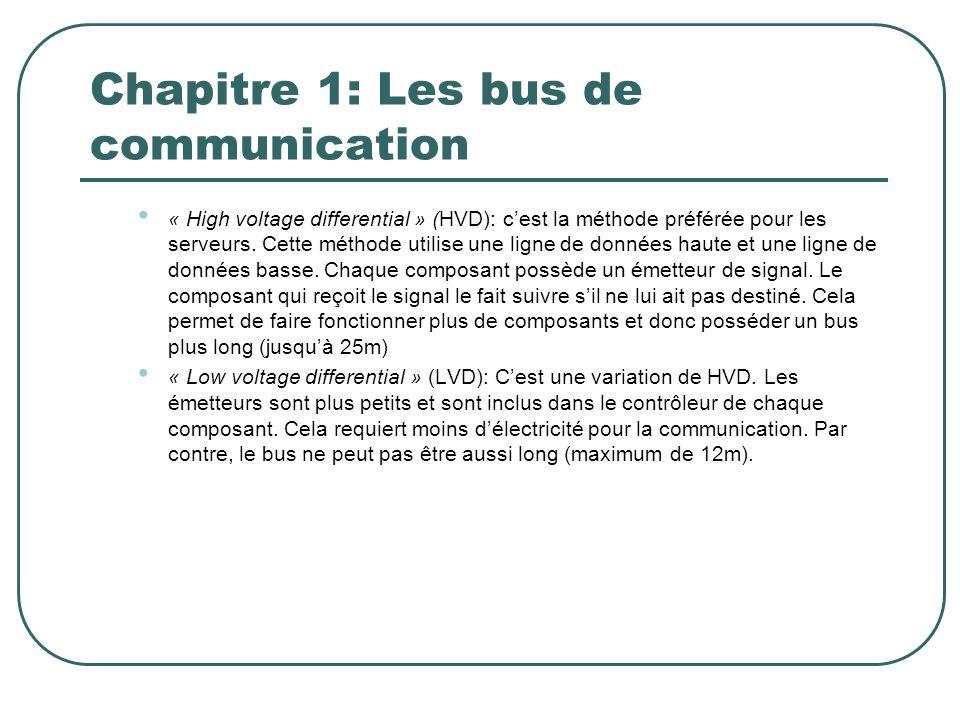 Chapitre 1: Les bus de communication « High voltage differential » (HVD): cest la méthode préférée pour les serveurs. Cette méthode utilise une ligne
