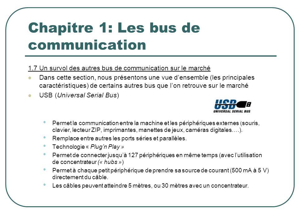 Chapitre 1: Les bus de communication 1.7 Un survol des autres bus de communication sur le marché Dans cette section, nous présentons une vue densemble