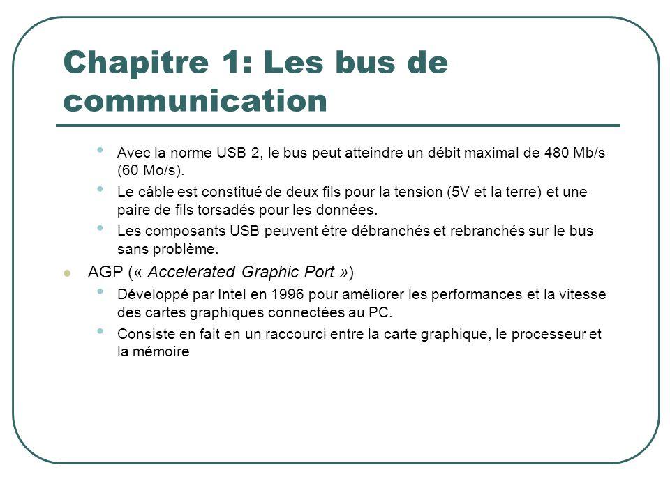 Chapitre 1: Les bus de communication Avec la norme USB 2, le bus peut atteindre un débit maximal de 480 Mb/s (60 Mo/s). Le câble est constitué de deux