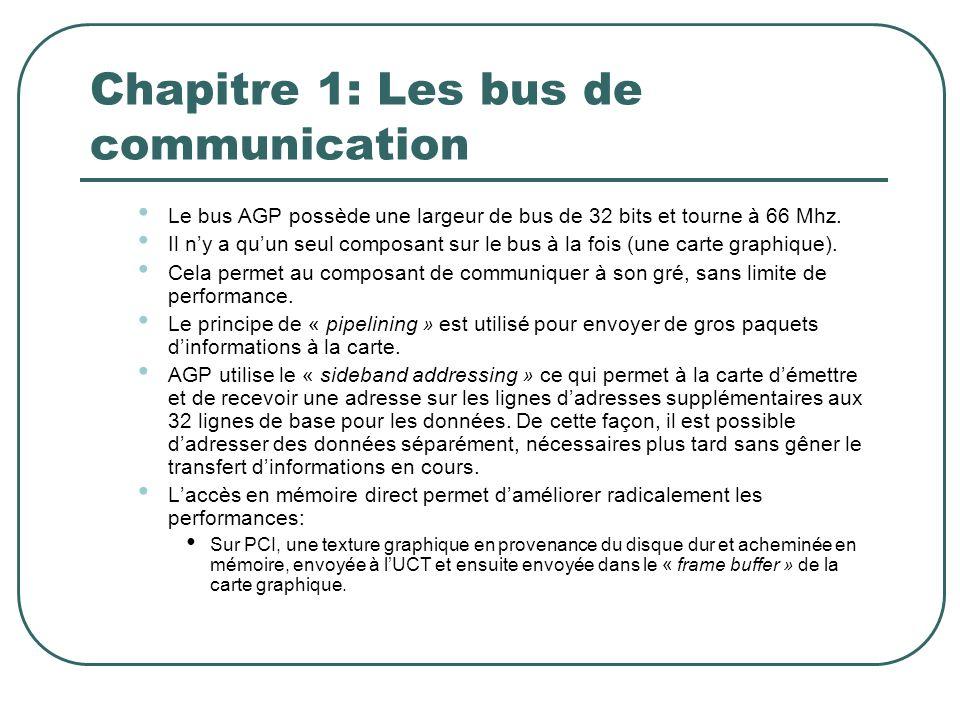 Chapitre 1: Les bus de communication Le bus AGP possède une largeur de bus de 32 bits et tourne à 66 Mhz. Il ny a quun seul composant sur le bus à la