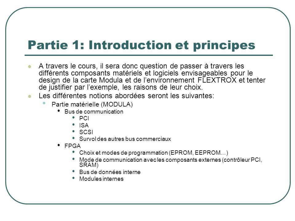 Partie 1: Introduction et principes A travers le cours, il sera donc question de passer à travers les différents composants matériels et logiciels env