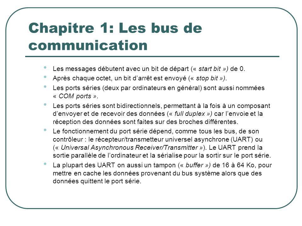 Chapitre 1: Les bus de communication Les messages débutent avec un bit de départ (« start bit ») de 0. Après chaque octet, un bit darrêt est envoyé («