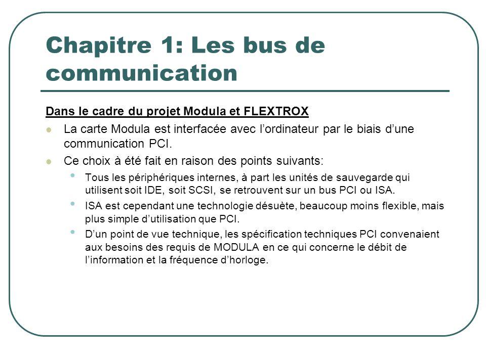 Chapitre 1: Les bus de communication Dans le cadre du projet Modula et FLEXTROX La carte Modula est interfacée avec lordinateur par le biais dune comm