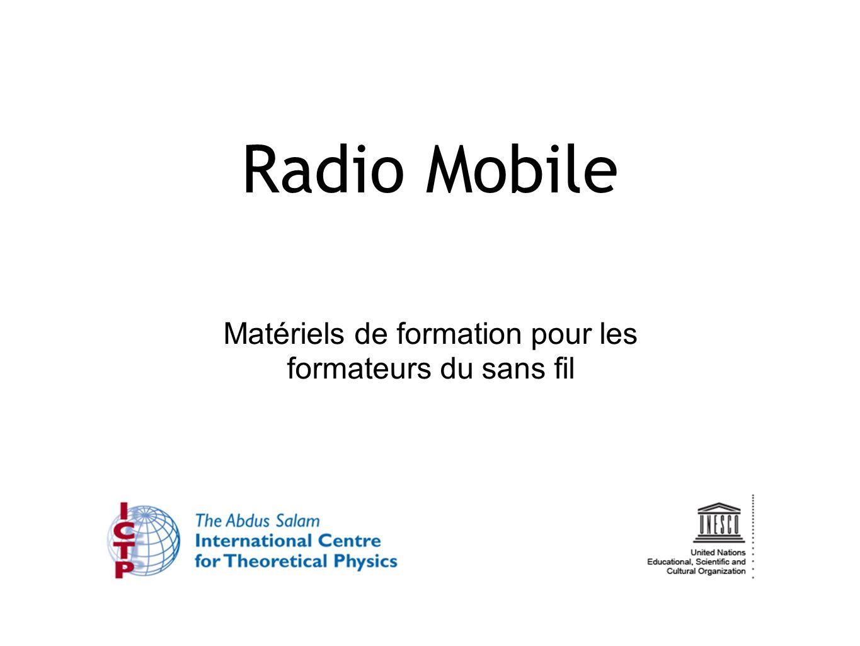 22 Utiliser Radio Mobile: Couverture 22 «Tools » « Radio coverage » « Single Polar » Cela va démarrer le calcul de couverture de la zone d une station sélectionnée dans votre réseau.