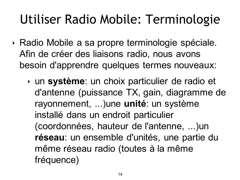 14 Utiliser Radio Mobile: Terminologie Radio Mobile a sa propre terminologie spéciale.