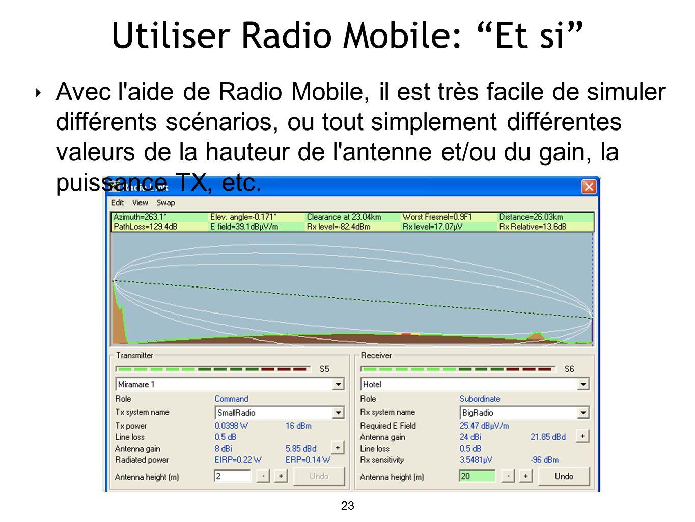 23 Utiliser Radio Mobile: Et si 23 Avec l aide de Radio Mobile, il est très facile de simuler différents scénarios, ou tout simplement différentes valeurs de la hauteur de l antenne et/ou du gain, la puissance TX, etc.