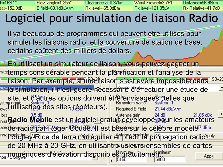 Il ya beaucoup de programmes qui peuvent etre utilises pour simuler les liaisons radio et la couverture de station de base, certains coûtent des milliers de dollars.