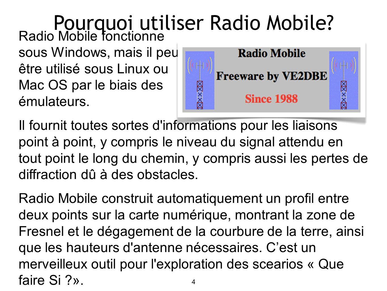 15 Utiliser Radio Mobile: Systemes Créons deux systèmes différents (WiFi@2.4GHz): SmallRadio: P TX =16dBm S RX =-90dBm omni 8dBi BigRadio: P TX =20dBm S RX =-96dBm dish 24dBi Autres: défaut