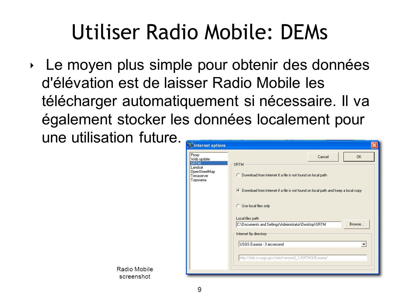 10 Using Radio Mobile: create map Menu « File », sélectionnez lobjet « Map properties » Insérer les coordonnées (center of map) et les dimensions de la carte Nous utilisons: N 45.6 - E 13.5 640x480 pixels 64x48 km « Extract » Radio Mobile screenshot