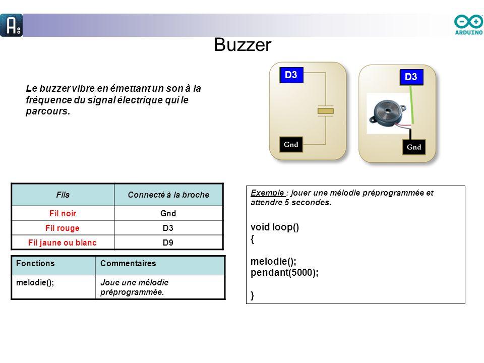 Buzzer Le buzzer vibre en émettant un son à la fréquence du signal électrique qui le parcours. FilsConnecté à la broche Fil noirGnd Fil rougeD3 Fil ja