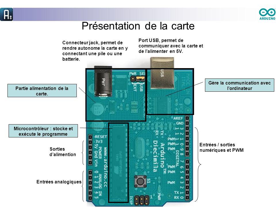 Présentation de la carte Port USB, permet de communiquer avec la carte et de lalimenter en 5V. Connecteur jack, permet de rendre autonome la carte en