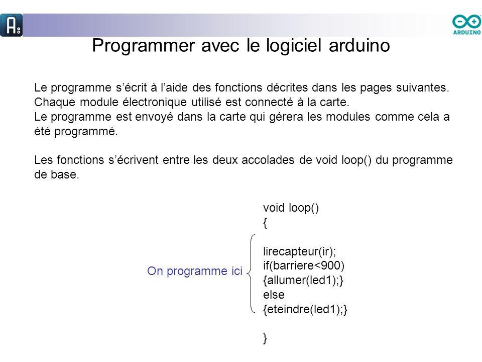 Programmer avec le logiciel arduino Le programme sécrit à laide des fonctions décrites dans les pages suivantes. Chaque module électronique utilisé es