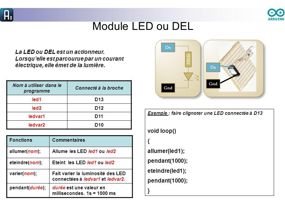 Module LED ou DEL La LED ou DEL est un actionneur. Lorsquelle est parcourue par un courant électrique, elle émet de la lumière. Nom à utiliser dans le