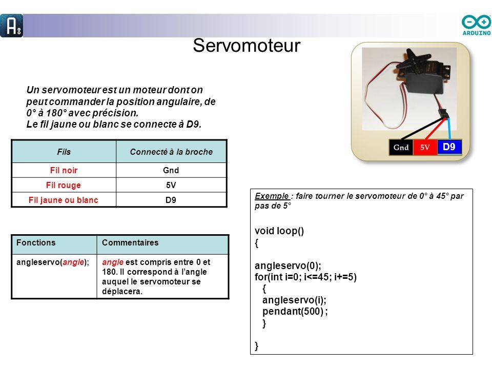 Servomoteur Un servomoteur est un moteur dont on peut commander la position angulaire, de 0° à 180° avec précision. Le fil jaune ou blanc se connecte