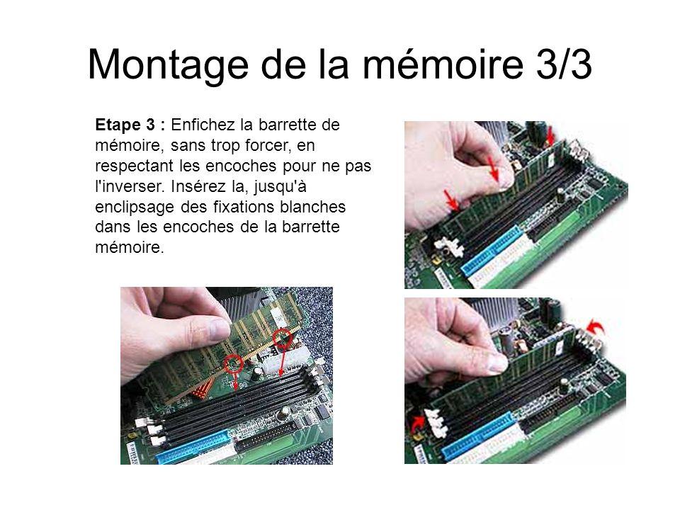 Montage de la mémoire 3/3 Etape 3 : Enfichez la barrette de mémoire, sans trop forcer, en respectant les encoches pour ne pas l'inverser. Insérez la,