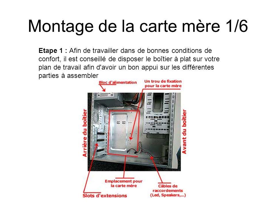 Montage de la carte mère 1/6 Etape 1 : Afin de travailler dans de bonnes conditions de confort, il est conseillé de disposer le boîtier à plat sur vot